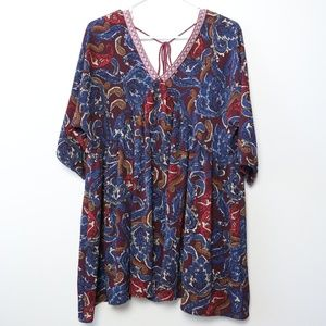 UMGEE Maroon Paisley V-Neck Tunic Dress